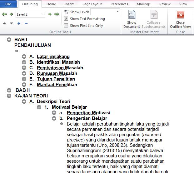 contoh hasil outline